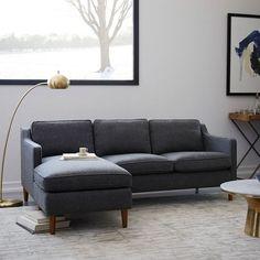 "Hamilton 2-Piece Upholstered Chaise Sectional | west elm.  83""W x 36D x 62""L"