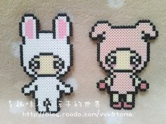 2D perler bead girl in a cute bunny costume with light pink ears and kawaii eyes, and another girl with kawaii eyes in a light pink cute pig suit.