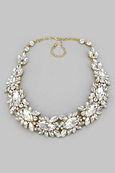 Crystal Elizabeth Necklace in Gold