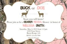 Buck or Doe Realtree Camo Baby Shower Gender Reveal Party Invitation / Camo Gender Reveal / Gender Reveal Invitation Digital File 4x6 or 5x7...