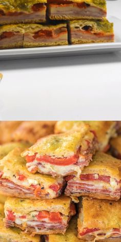 Antipasto Squares recipe SO GOOD Crescent rolls stuffed with ham salami pepperoni provolone swiss and roasted red peppers then topped with a mixture of parmesan cheese e. New Recipes, Cooking Recipes, Favorite Recipes, Recipes With Deli Ham, Recipes With Banana Peppers, Lunch Recipes, Appetizers For Party, Appetizer Recipes, Meat Appetizers
