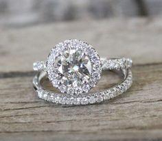 SET  7mm  Moissanite Diamond Halo Engagement Ring in by Studio1040, $3450.00