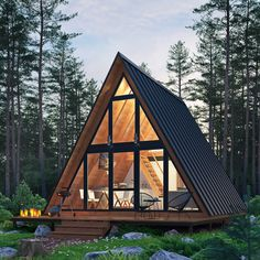 Forest house on Behance Tiny House Cabin, Cabin Homes, Cozy House, Cabin Design, Tiny House Design, Cabins In The Woods, House In The Woods, A Frame Cabin Plans, Triangle House