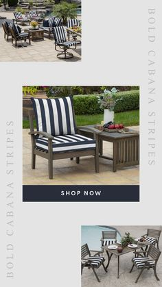I love these bold blue & white striped cushions! These would look great on my deep seat club chairs! Outdoor Cushions, Outdoor Seating, Outdoor Decor, New Patio Ideas, Striped Cushions, Club Chairs, Cabana, Outdoor Living, Outdoor Furniture Sets