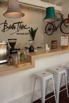 on different levels to accommodate brew bar Like this whole look, the writing, the lamp shades are contemporary and the old gits will like them Coffee Cafe, Coffee Shops, Coffee Menu, Coffee Lovers, Coffee Break, Coffee Shop Names, Sunday Coffee, House Coffee, Coffee To Go