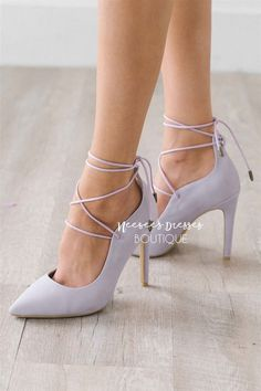 These soft lilac beauties, are so simple yet so elegant. Featuring a point toe and pretty lace up details. Cute Sandals, Cute Shoes, Me Too Shoes, Lilac Heels, Lace Up Heels, Spring Sandals, Spring Shoes, Shoe Boutique, Modest Boutique