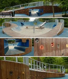 Dutch landscape design outfit, Carve, have created some stunning playgrounds. Melis Stoke Park in The Hague was designed for children with disabilities, yet is challenging for all children. It has a wooden climbing wall with hundreds of round climbing hol