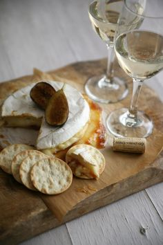 Baked Brie with Fig Preserves paired with Moscato wine