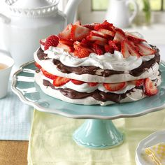 Strawberry-Chocolate Meringue Torte Recipe -I make this rich and delicious torte whenever I'm asked to bring dessert to any occasion. Use reduced-calorie whipped topping to create a lighter version. —Christine McCullough, Auburn, Massachusetts