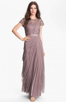 Adrianna Papell Buff/plummy Taupe Layered Chiffon And Lace Gown Dress $170