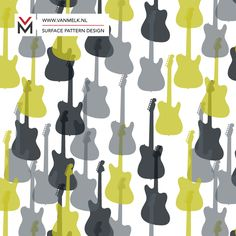 Guitar surface pattern, wallpaper, textile design, wrapping