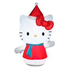 Inflatable 4.5ft Hello Kitty in Santa Hat and Blue Scarf Christmas Decoration Gemmy