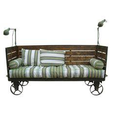 Vintage Industrial Sofa On wheels Cart - Akku Art Exports