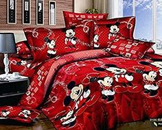 Sisbay Mickey and Minnie Mouse Cartoon 4Pcs Bedding Set, Queen * For more information, visit image link.
