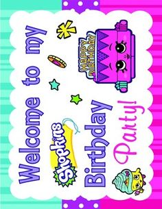 Shopkins Birthday Sign Party Decorations