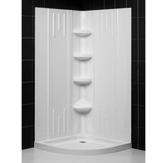 MAAX Intuition Neo Angle 36 In. X 36 In. X 73 In. Shower Kit In Nickel With  Mistelite Glass With Base And Walls In White 105967 000 001 102 At The U2026