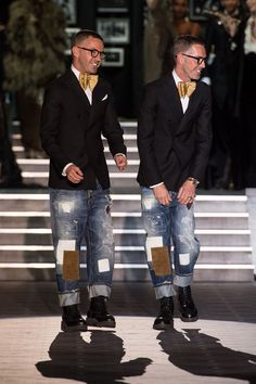 Dean and Dan Caten of Dsquared2. See, they make clothes exactly like they style themselves: a bit pretentious and just a bit too perfectly styled. The clothes are nice but they need to leave a bit more to fate as opposed to styling the life out of their looks. Too control-freak.
