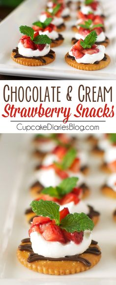 Chocolate and Cream Strawberry Snacks - Dark chocolate, whipped cream, and sweet strawberries topped on a RITZ® cracker. A perfect snack to satisfy a sweet craving! #PutItOnARitz #Ad