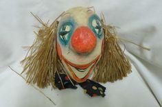 "Vintage ""Dildi Larve"" Paper Mache Clown Mask Rare Find Clowns, Mardi Gras Mask"