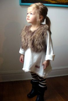 OMG....Little girl in Fur Vest....I will dress my daughter like this...