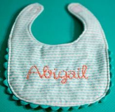 Hand Embroidered Baby Bib | AllFreeSewing.com