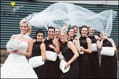 wedding picture bridesmaids fun