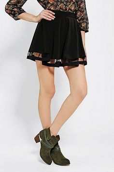 Pins And Needles Mesh-Hem Circle Skirt