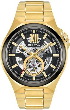 Bulova Watch Maquina Mens #add-content #allow-discount-yes #basel-20 #bezel-fixed #bracelet-strap-gold-pvd #brand-bulova #case-depth-13-2mm #case-material-yellow-gold-pvd #case-width-46mm #delivery-timescale-call-us #dial-colour-black #fashion #gender-mens #movement-automatic #new-product-yes #official-stockist-for-bulova-watches #packaging-bulova-watch-packaging #sale-item-no #style-dress #subcat-maquina # Black Stainless Steel, Stainless Steel Watch, Stainless Steel Bracelet, Automatic Skeleton Watch, Automatic Watches For Men, Bulova Mens Watches, Skeleton Watches, Color Dorado, Gold Watch
