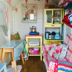 All ready for Christmas walks by the sea and hot chocolate! Beach Hut Shed, Beach Hut Decor, Beach Huts, Cozy Living Spaces, Tiny House Living, She Shed Interior Ideas, Beach Hut Interior, Shed Decor, Home Decor