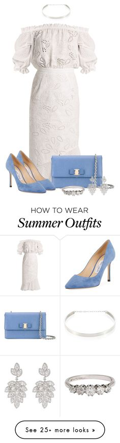 """Summer Outfit 5"" by larycao on Polyvore featuring Jennifer Zeuner, Saloni, Salvatore Ferragamo, CZ by Kenneth Jay Lane and Jimmy Choo"