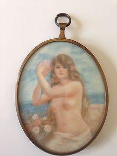 Vintage/Antique Miniature Portrait On Ivory Circa Late 1700-1800 NO RESERVE