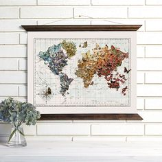 Butterfly World Map, $135, by Wendy Gold