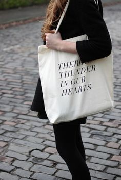 thunder in our hearts tote in fluro pink por fieldguided en Etsy, $20.00