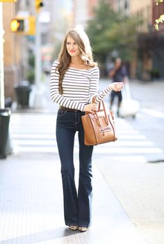 Really love flared jeans for the fall