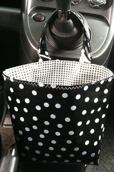 Beth's Black Polka Dot Oilcloth Car Trash Receptacle by marketbags, $15.00