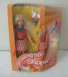 GROWING UP SKIPPER MIB 1974 MATTEL NO,7259 BARBIE'S SISTER- GIRL TO TEENAGER