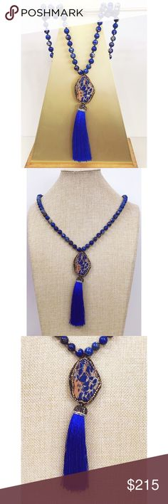 Blue Lapis Mala Once used exclusively in Buddhist tradition as a Mantra Mala, or prayer beads, these beautiful handmade works of art. Hand tied with pure silk thread. Made with the traditional 108 semi-precious stones, and finished with a lush silk tassel. Lapis Lazuli: associated with the third eye and throat chakras, this stone enhances communication, increases truth and integrity, and opens the third eye. It allows for speaking one's truth, and connects to spiritual and higher wisdom. 5…