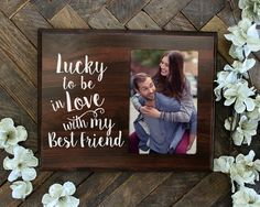 Lucky to be in love Romantic Gift picture frame for boyfriend gift for him gift…