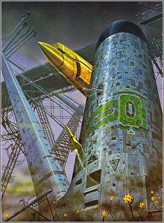 Angus Mckie Spaceship 01 (see more on http://www.tranchesdunet.com/mondes-futuristes-angus-mckie/ )