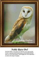 Owl Cross Stitch Patterns | Noble Barn Owl. In ancient Greece, owls were often seen as a symbol of good fortune. #pinterestcrossstitch #pinterestgifts #animalcrossstitch