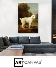 Ready-to-hang White Poodle in a Punt 1780 Canvas Art Print for Sale canvas art print for sale.