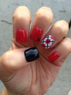 Husker Nails Red White And Black