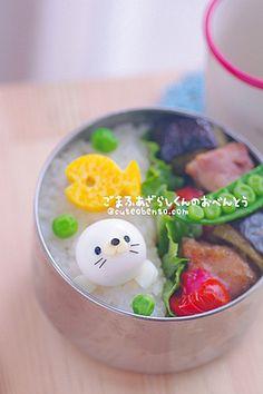 Cute!!white seal bento
