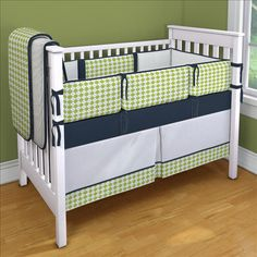 Lime and Navy Argyle Custom 4-piece Crib Bedding Set | Lime and Navy Argyle Nursery Idea | Carousel Designs