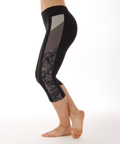 Loving this Grunge Black Abstract-Panel Capri Leggings on #zulily! #zulilyfinds