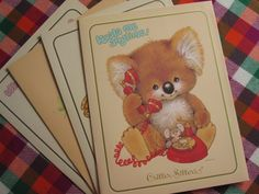 Critter Sitters school supplies. Critter Sitters were puffy little characters that were so cute, it was impossible for us 1980's girls to not love them. They were on notebooks and folders and party supplies and what not. I beleive they were from Hallmark.
