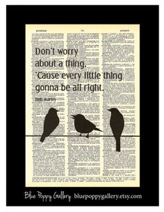 Three Little Birds Bob Marley inspired  art dictionary page illustration book print Buy 3 get 1 FREE