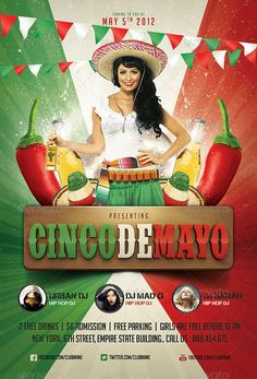 Cinco de Mayo Party Flyer flags type on the bottom, movie poster style