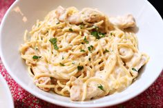 Alfredo Pasta with Cajun Spiced Chicken a wonderful creamy pasta and chicken dish with a spicy kick.  Quick enough for weeknight dinners or the perfect comfort food for weekends.