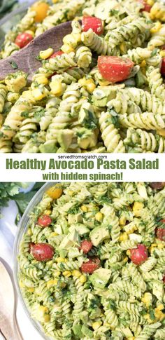 This Healthy Avocado Pasta Salad is one that'll be different from all the others on the BBQ table. It's a creamy, bright, packed full of spinach, healthy pasta salad that just happens to be vegan friendly! Vegetarian Pasta Salad, Healthy Pasta Salad, Avocado Pasta, Easy Pasta Salad, Pot Pasta, Vegetarian Entrees, Pasta Noodles, Healthy Pastas, Healthy Meal Prep